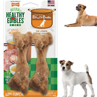 Dog Chew Treats Broth Bone Snack 2 Pieces Ham Flavor Pet Pack Adult Dogs