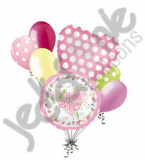 7 pc Happy Birthday Dragonflies & Flowers Balloon Bouquet Party Decoration Bugs