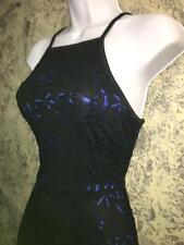 Black crochet doily lace royal blue roses mini dress CHARLOTTE RUSE sleeveless M
