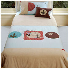 Wild Wild West Cowboy Single Embroidered Quilt Doona Cover Set NEW