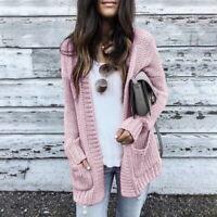 Fashion Women Long Knitted Fluffy Cardigan Sweater Pocket Outwear Coat Jacket