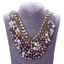 Gorgeous Gold Multilayer made w Swarovski Crystal Pearl Stone Statement Necklace
