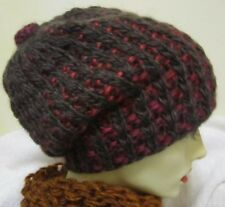 Handmade hat in  brown and red - Size S/M - merino wool/mohair
