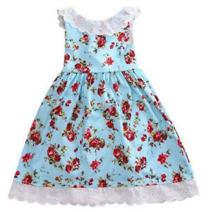 Girls Child Vintage Retro Floral Roses Lace Dress Circle Swing Party Dresses 3-7