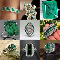 Chic Women 925 Silver Natural Emerald Gemstone Wedding Engagement Ring Size 6-10