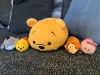 "Bundle 5 Disney Tsum Tsum Soft Toys 12"" Pooh. Piglet Eeyore Tigger"