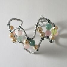 Aluminum Bangle Bracelet With Round Aquamarine Hand-Made In Italy 7 Inches