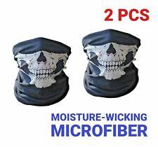2 Pack Skull Face Mask Motorcycle Hood Ski Balaclava Moisture-Wicking Microfiber