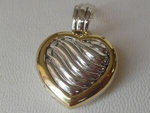 $1250 DAVID YURMAN 18K GOLD SS LARGE HEART LOCKET PENDANT ENHANCER