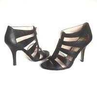 Isola Steffi Womens Sandals Open Toe Strappy Black Leather Zipper Heels Size 10