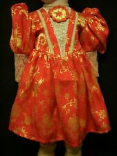 """Jumeau Doll Dress– Antique style for 24-25"""" French, German doll – Red/Gold D9"""