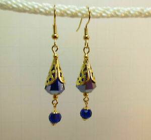 Crystal Cone Golden Filigree Cone with Faceted Blue Earrings j3