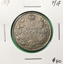 Canada 1919 Half Dollar Silver 50 Cents F/VF