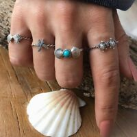 4 Neumodisch Strand Stil Seestern Muschel Schildkröte Ringe Damen Einzigartig