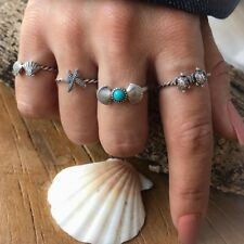 4PC New fashion Beach Style Starfish Shell Turtle Rings Women Girls Decor Rings