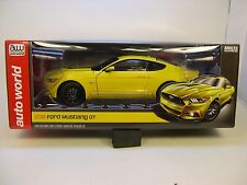 YELLOW 2016 FORD MUSTANG GT AUTO WORLD 1:18 SCALE DIECAST METAL MODEL CAR