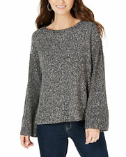 Style & Co Women's Petite Small PS Flare-Sleeve Sweater, Marl Black NEW #28
