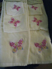 YELLOW BUTTERFLY PINK SHOWER CURTAIN BATH TOWEL LOT 7pc
