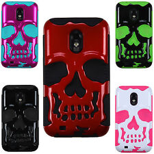 For Samsung Galaxy S 2 II R760 EPIC 4G TOUCH SKULL Hybrid Layer Phone Case Cover
