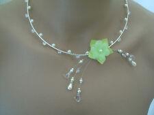 Collier Vert clair/Ivoire/Blanc/Cristal Fleur Mariée/Mariage/Soirée pas cher