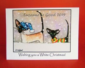 Siamese Oriental Cat Christmas cards  6 pack original painting Suzanne Le Good