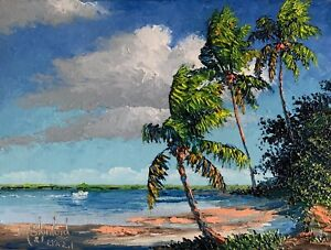 Florida Knife Oil Painting Jupiter Waterway Highwaymen Like- Lost Years Art 2.1