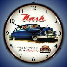 1950 Nash Rambler antique car new advertising LIGHTED clock Fast Ship USA made