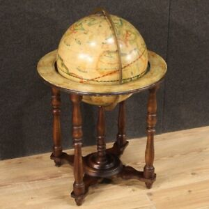 Globe Wooden Painting Furniture Vintage Small Table Antique Style Xx Century 900