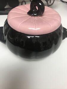 MCM Atomic Earl Hoenig Art Deco Pottery Pumpkin Dip Bowl w/ Lid Pink & Black MCM