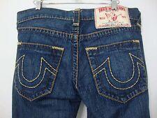 True Religion Bobby Super T Blue Jeans Row 30 Seat 34 Straight Leg Brown Stitch