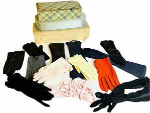 34 Pair Vintage Gloves 6.5 Women's Formal Long Short 3 Vintage Storage Boxes Lot
