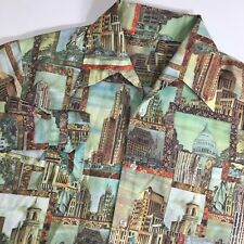 Vtg 70's Men OLD WORLD NEW YORK City MoD NYC All Over PHOTO PRINT Disco Shirt L