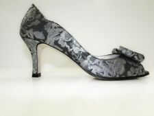 HB Espana Womens Floral Design Heel Court Shoes -Silver/Black- UK 3 By HB Shoes
