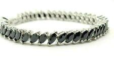 White gold finish black onyx marquise cut created diamond tennis bracelet