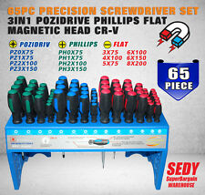 65 Piece Screwdriver Set Pozi Phillips Flat Slotted 3 in 1 Magnetic Head w/ Rack