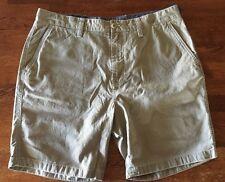 Nautica Men's Flat Front Twill Shorts Modern Fit Tan Khaki sz 34