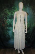 SCOTT MCCLINTOCK Womens Formal Dress White Ruffle Ruched Prom Dress size 4P (C)
