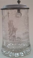 Statue Of Liberty 100th Anniversary Glass Commemorative Beer Stein w/ Pewter Lid