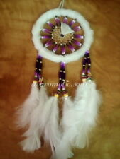 White Fur & Purple Beads Large Size Native American Hand-Made Dream Catcher