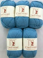 5 Elsebeth Lavold COOL WOOL #3 Cerulean Blue 50g Yarn Skeins Machine Washable