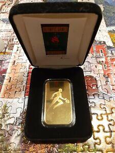 1 oz Bronze Bar 1996 Atlanta Olympics Basketball with Display Case .999 Bullion
