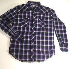 b82e19bbb0 Arizona Jean Co Hombre Botón Frontal occidental a Cuadros Informal Mangas  Largas Camiseta perla broches de presión M