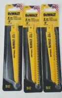 """DeWalt DW4851 6"""" x 6 TPI Drywall Bi-Metal Reciprocating Saw Blades 15 Blades"""