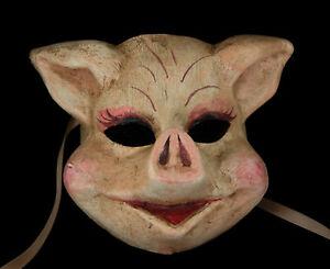 Masque de Venise Cochon en papier Mâché fait main Unique Carnaval Vénitien 1886