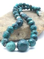 """Navajo Chunky Spider Web Turquoise Sterling Silver Beads Necklace  21"""" 4365"""