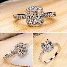 Silver Plated Diamond luxury Engagement Wedding Fake Ring-Diamond Look
