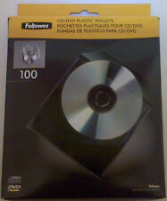 Fellowes 100 Micron High Quality CD DVD plastic poly sleeves wallets - 100 Pack