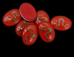10 Glass Red Oval Chinese Dragon Cabochon 18 x 13 mm Vintage
