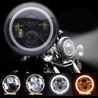 """1PCS 7"""" Motorcycle Headlight Round LED Angel Eyes Black For Harley Jeep Wrangler"""