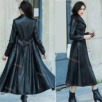 Womens Single Breasted Belted Full Length Long Leather Trench Jacket Coat XS-8XL